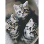 """Диамантен Гоблен """"Котенца на прозорче"""" - 30 x 40 см, Кръгли мъниста-Copy"""