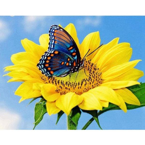 """Диамантен Гоблен """"Цвете с Пеперуда"""" - 30 x 40 см, Кръгли мъниста"""