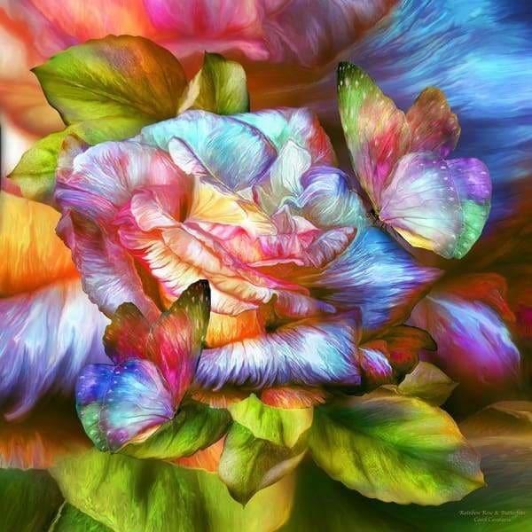 """Диамантен Гоблен """"Шарено цвете"""" - 30 x 30 см, Кръгли мъниста"""
