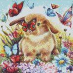 """Диамантен Гоблен """"Куче и Коте"""" - 40 x 40 см, Кръгли мъниста-Copy"""