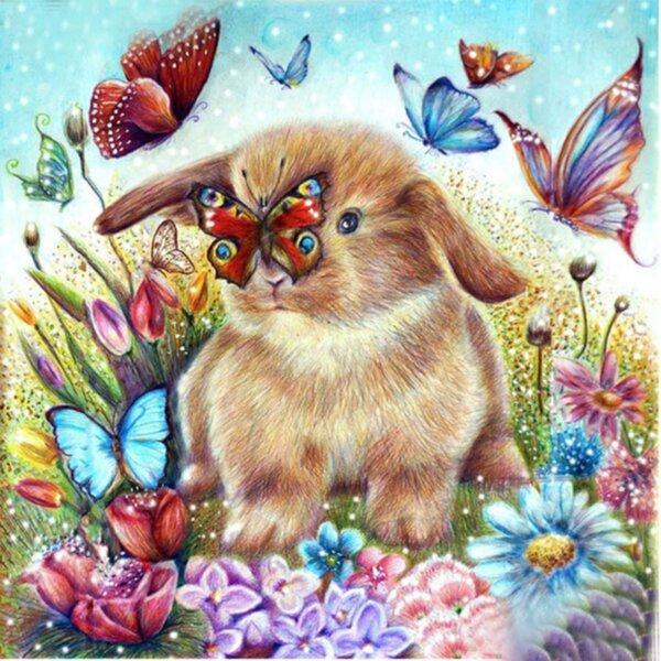 """Диамантен Гоблен """"Зайче и Пеперудки"""" - 40 x 40 см, Кръгли мъниста"""