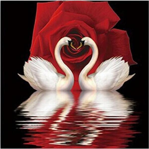 """Диамантен Гоблен """"Двата Лебеда"""" - 40 x 40 см, Кръгли мъниста"""