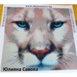 """Диамантен Гоблен """"Белият Тигър"""" - 40 x 40 см, Кръгли мъниста"""