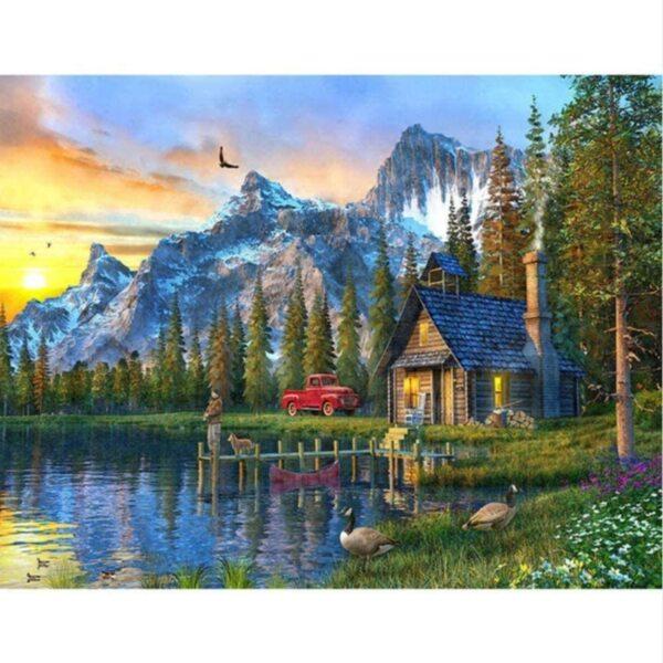"""Диамантен Гоблен """"Къщата на езерото"""" - 45 x 30 см, Квадратни мъниста"""