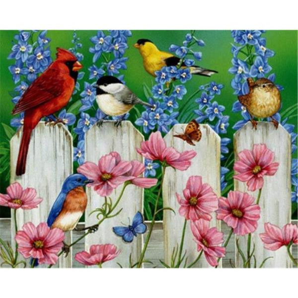 """Диамантен Гоблен """"Птичета на ограда"""" - 40 x 32 см, Кръгли мъниста"""