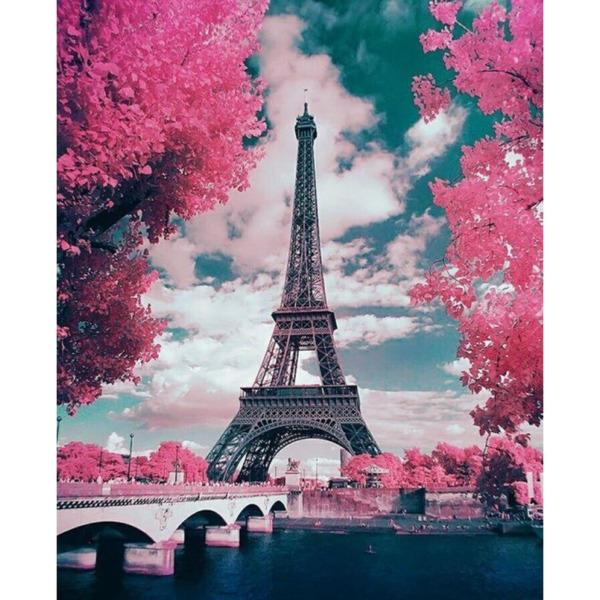 "Диамантен Гоблен ""Айфеловата Кула"" - 35 x 45 см, Кръгли мъниста"
