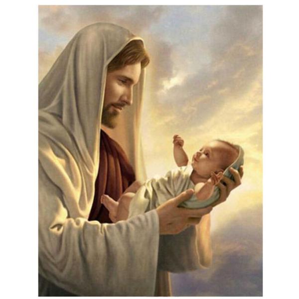 """Диамантен Гоблен """"Исус държи бебе"""" - 35 x 45 см, Кръгли мъниста"""