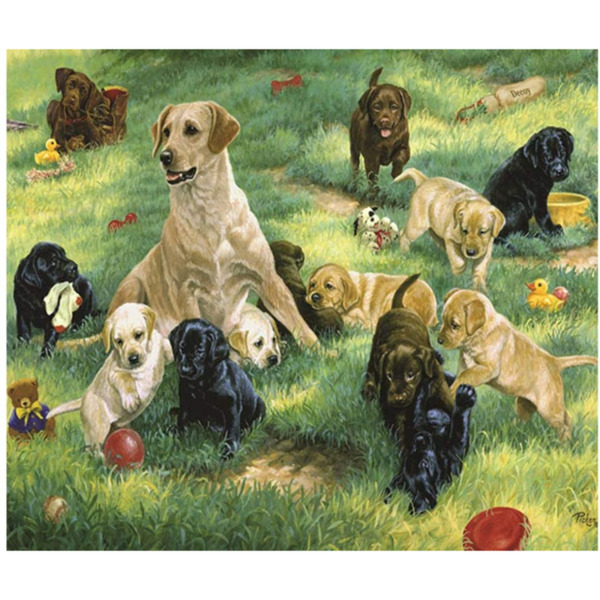 """Диамантен Гоблен """"Кучета на полянка"""" - 35 x 45 см, Кръгли мъниста"""