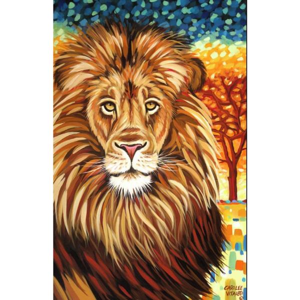 """Диамантен Гоблен """"Африкански Лъв"""" - 35 x 50 см, Кръгли мъниста"""