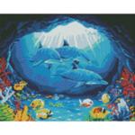 """Диамантен Гоблен """"Море"""" - 40 x 50 см, Кръгли мъниста"""