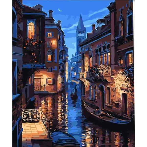 """Диамантен Гоблен """"Венеция"""" - 40 x 50 см, Кръгли мъниста"""