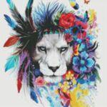 Визуализация на диамантен гоблен Артистичният Лъв