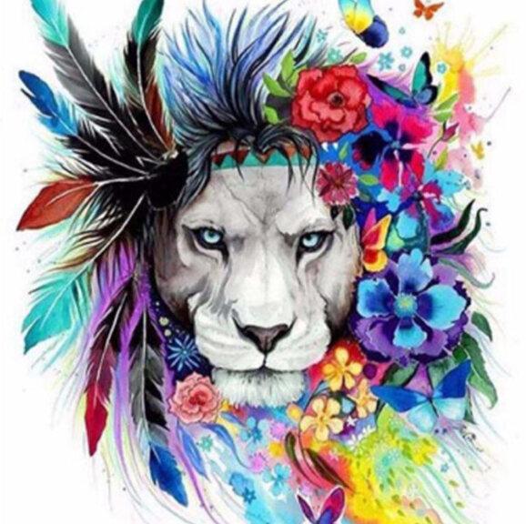 """Диамантен Гоблен """"Артистичният Лъв"""" - 50 x 50 см, Кръгли мъниста"""
