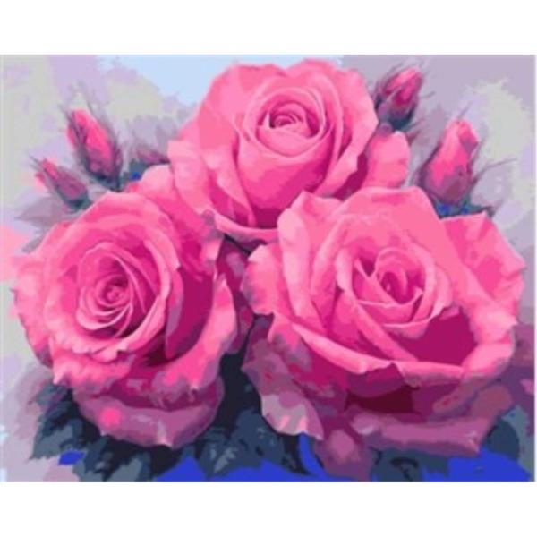 """Диамантен Гоблен """"Розова Прелест"""" - 45 x 45 см, Кръгли мъниста"""