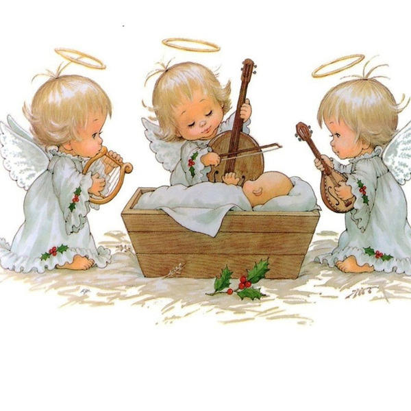 """Диамантен Гоблен """"Трите Ангелчета"""" - 40 x 55 см, Кръгли мъниста"""