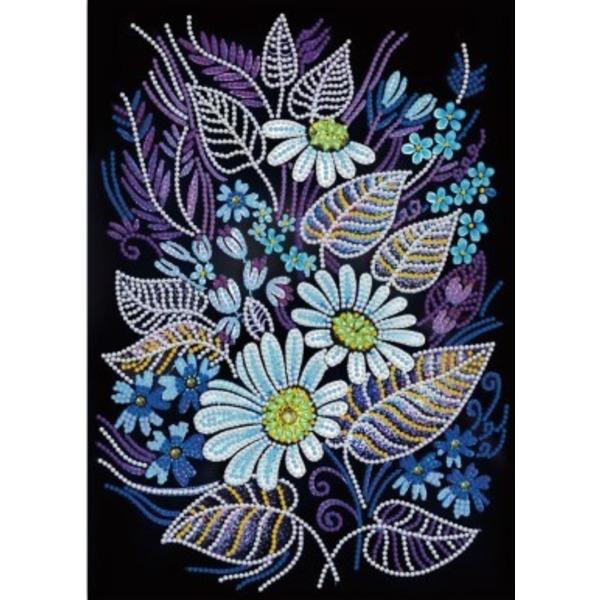 """Светещ Диамантен Гоблен """"Цветя"""" - 22 x 22 см, Кръгли мъниста"""