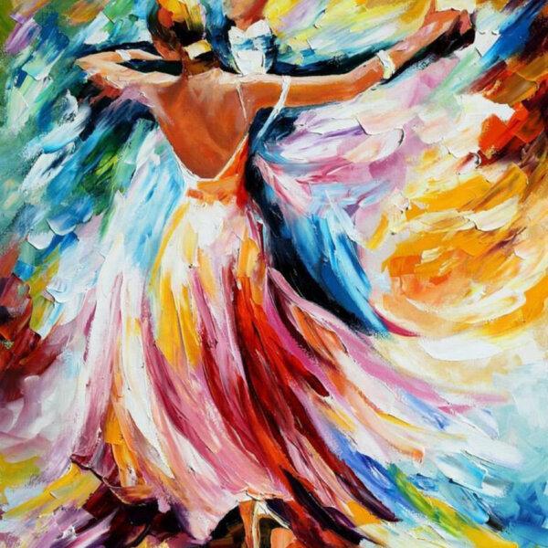 """Диамантен Гоблен """"Танц"""" - 50 x 50 см, Кръгли мъниста"""