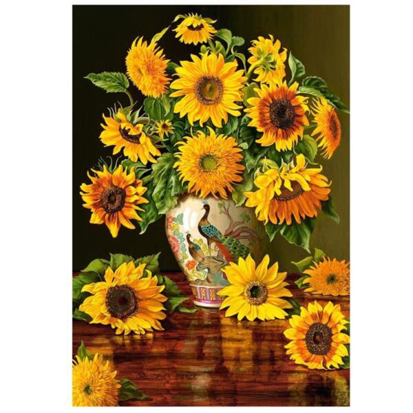 """Диамантен Гоблен """"Ваза със слънчогледи"""" - 40 x 50 см, Кръгли мъниста"""