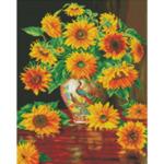 """Диамантен Гоблен """"Слънчогледите"""" - 40 x 40 см, Кръгли мъниста-Copy"""