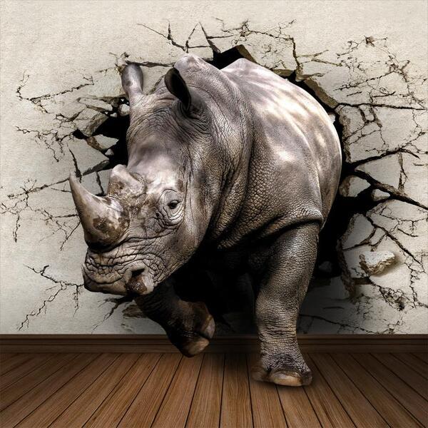 "Диамантен Гоблен ""Носорог"" - 30 x 40 см, Кръгли мъниста"