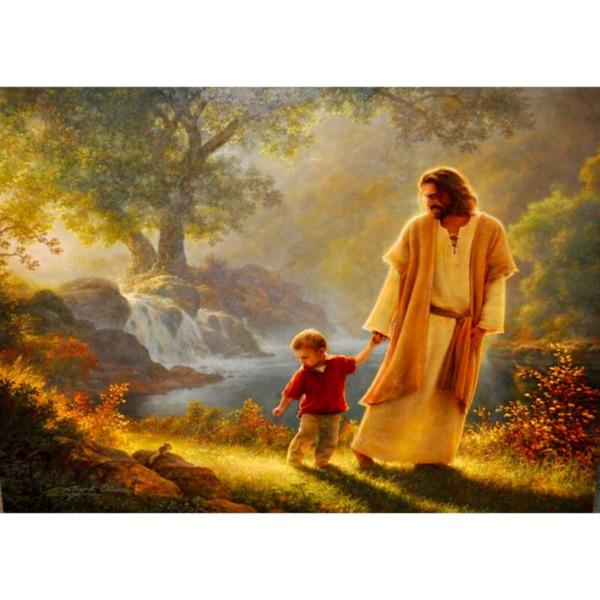 """Диамантен Гоблен """"Исус Води Дете"""" - 40 x 30 см, Квадратни мъниста"""