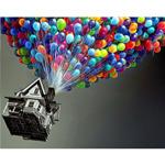 """Диамантен Гоблен """"Къща с Балони"""" - 38 x 30 см, Кръгли мъниста"""