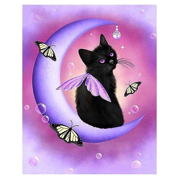 """Диамантен Гоблен """"Коте-Пеперуда"""" - 30 x 40 см, Кръгли мъниста"""