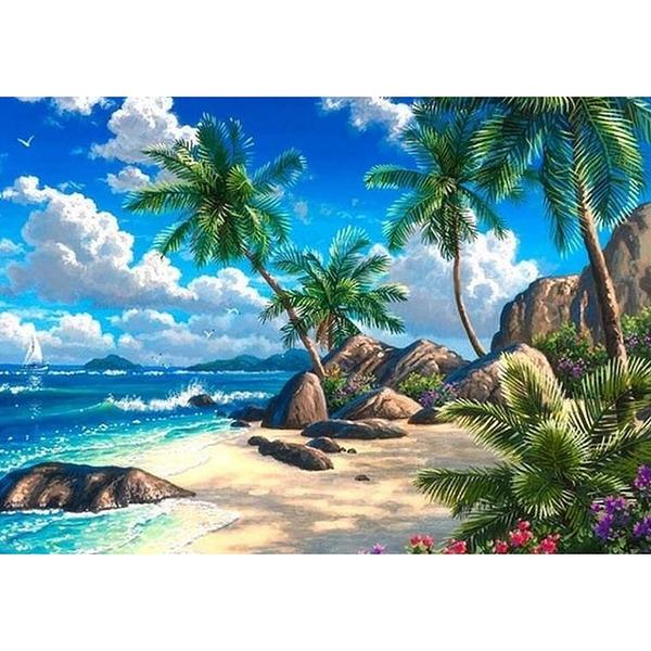 """Диамантен Гоблен """"Палми и Море"""" - 40 x 50 см, Кръгли мъниста"""