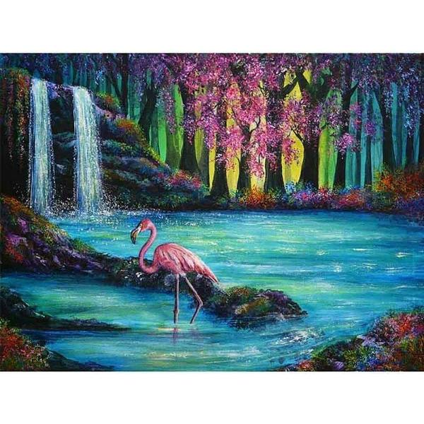 """Диамантен Гоблен """"Фламинго в Езерото"""" - 40 x 50 см, Квадратни мъниста"""