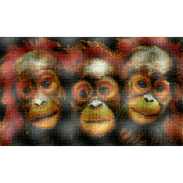 """Диамантен Гоблен """"Трите Маймунки"""" - 30 x 50 см, Кръгли мъниста"""