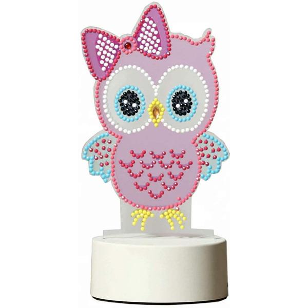 Диамантена LED Лампа Бухалче с панделка - 20 х 9.5 см, Кръгли мъниста