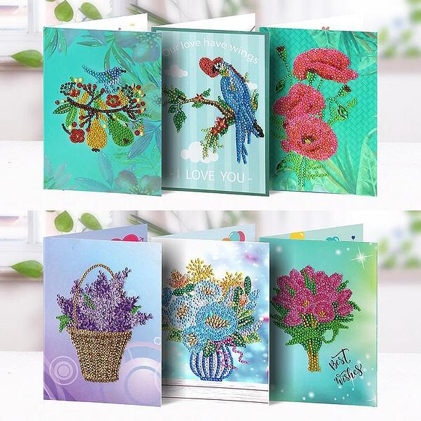 Диамантени Поздравителни Картички Цветя - 6 броя, Кръгли мъниста