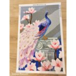 """Елмазен Гоблен """"Паунът с розови цветя"""" - 50 x 80 см, Кръгли мъниста"""