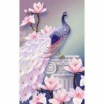 Диамантен гоблен Паунът с розови цветя 50 х 80 см