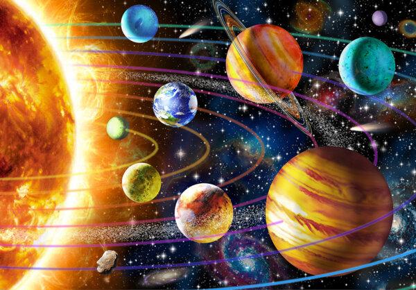 """Диамантен Гоблен """"Планети"""" - 60 x 40 см, Кръгли мъниста"""