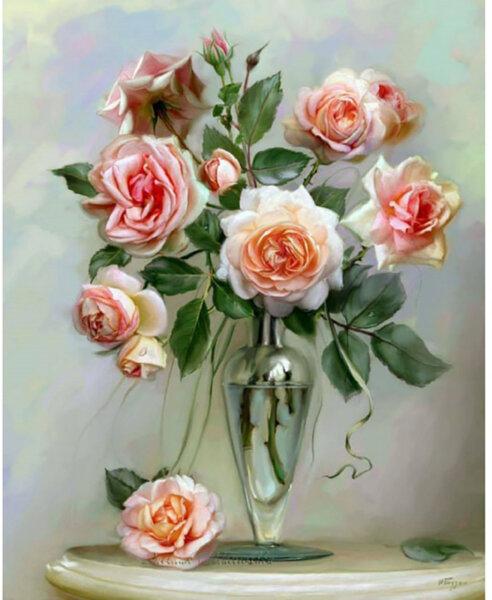 """Диамантен Гоблен """"Букет от рози"""" - 32 x 45 см, Кръгли мъниста"""
