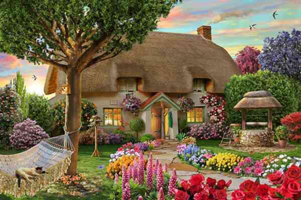 """Елмазен Гоблен """"Къщата с кладенеца"""" - 32 x 45 см, Кръгли мъниста"""