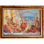 """Елмазен Гоблен """"Закуска на брега на морето"""" - 32 x 45 см, Кръгли мъниста"""