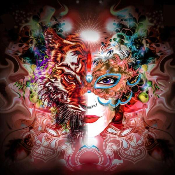 """Диамантен Гоблен """"Жената-тигър"""" - 42 x 42 см, Кръгли мъниста"""