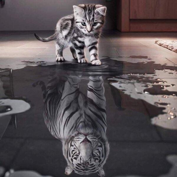 """Елмазен Гоблен """"Мечтата на котето"""" - 35 x 35 см, Кръгли мъниста"""