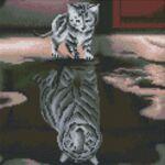 Визуализация на елмазен гоблен Мечтата на котето