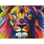 Визуализация на елмазен гоблен Цветен лъв