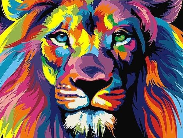 """Диамантен Гоблен """"Цветен лъв"""" - 40 x 30 см, Квадратни мъниста"""