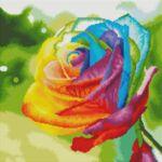 Визуализация на елмазен гоблен Шарена роза