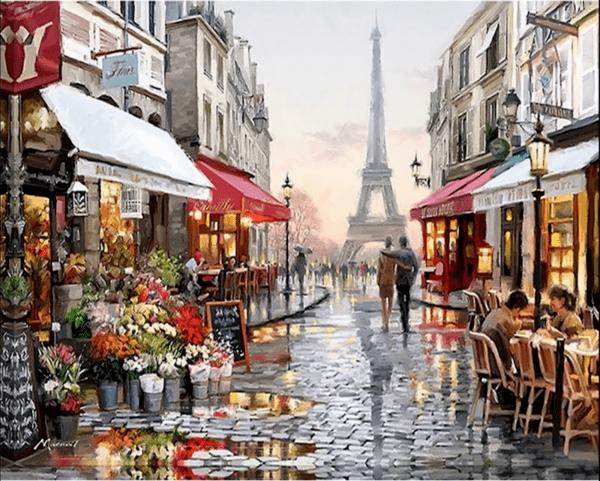 """Диамантен Гоблен """"Париж"""" - 60 x 42 см, Кръгли мъниста"""