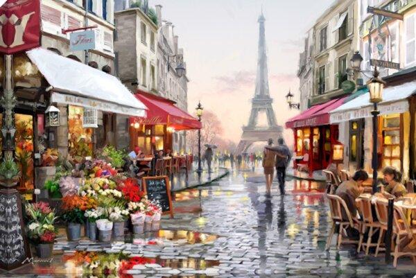 """Диамантен Гоблен """"Париж"""" - 45 x 30 см, Квадратни мъниста"""