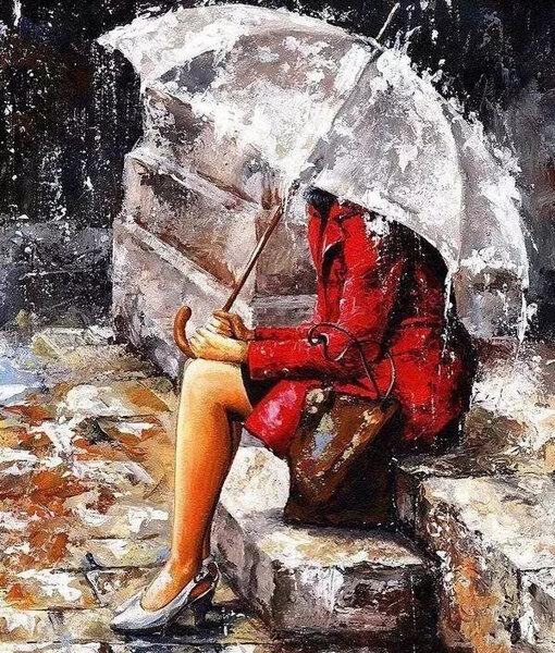 """Диамантен Гоблен """"Под дъжда"""" - 40 x 50 см, Кръгли мъниста"""