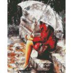 Визуализация на диамантен гоблен Под дъжда
