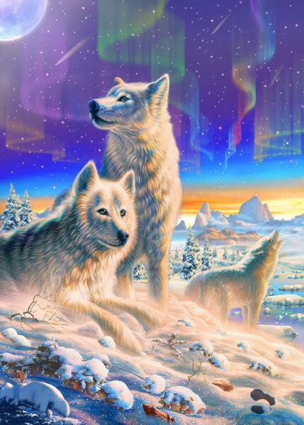 """Диамантен Гоблен """"Вълци"""" - 30 x 40 см, Квадратни мъниста"""