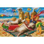 Визуализация на елмазен гоблен Котки на плаж